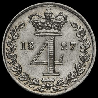 1827 George IV Milled Silver Maundy Fourpence Reverse