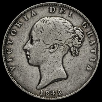 1842 Queen Victoria Young Head Silver Half Crown Obverse