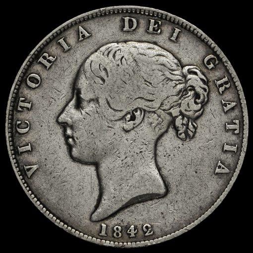 1842 Queen Victoria Young Head Silver Half Crown Obverse