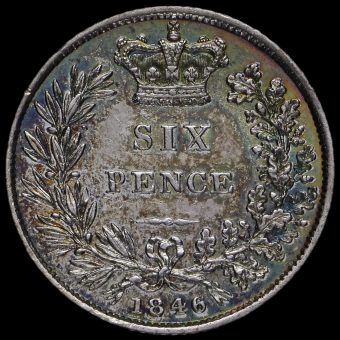 1846 Queen Victoria Young Head Silver Sixpence Reverse