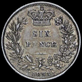 1853 Queen Victoria Young Head Silver Sixpence Reverse