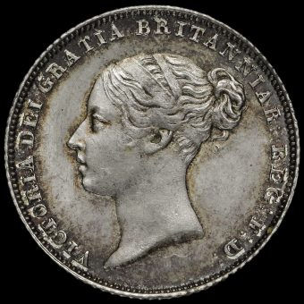 1855 Queen Victoria Young Head Silver Sixpence Obverse