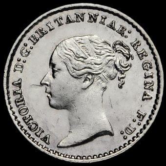 1866 Queen Victoria Young Head Silver Maundy Penny Obverse