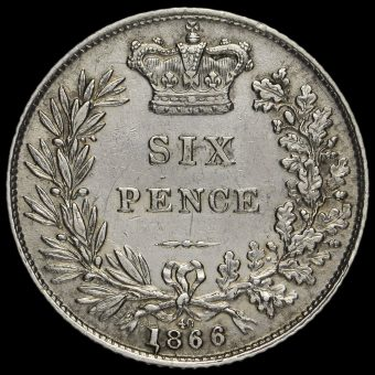 1866 Queen Victoria Young Head Silver Sixpence Reverse