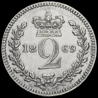 1869 Queen Victoria Young Head Silver Maundy Twopence Reverse