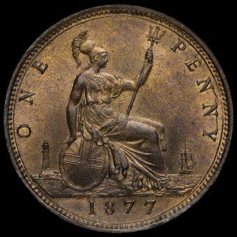 1877 Queen Victoria Bun Head Penny Reverse