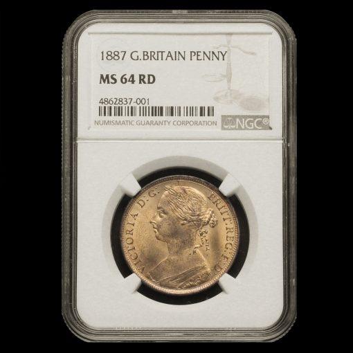 1887 Queen Victoria Bun Head Penny NGC MS 64