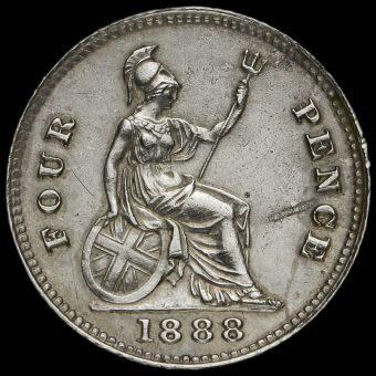 1888 Queen Victoria Jubilee Head Silver Groat Reverse