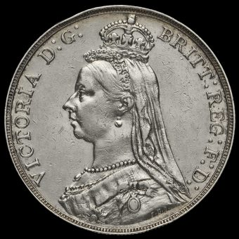 1888 Queen Victoria Jubilee Head Silver Wide Date Crown Obverse