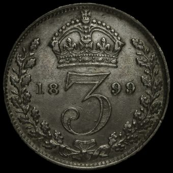 1899 Queen Victoria Veiled Head Silver Threepence Reverse