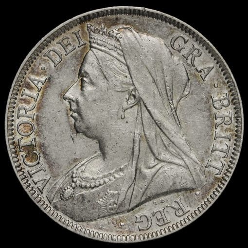 1899 Queen Victoria Veiled Head Silver Half Crown Obverse