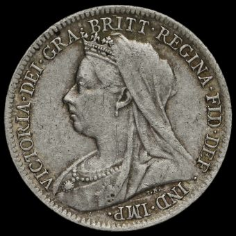 1900 Queen Victoria Veiled Head Silver Sixpence Obverse