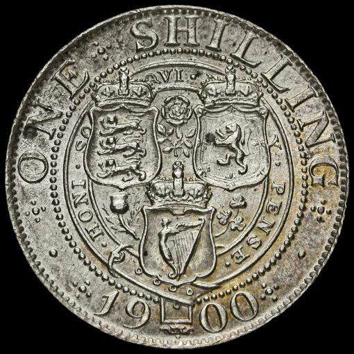 1900 Queen Victoria Veiled Head Silver Shilling Reverse