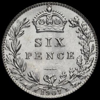 1907 Edward VII Silver Sixpence Reverse