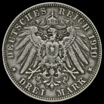 German States, Wurttemburg 1910F 3 Mark Reverse