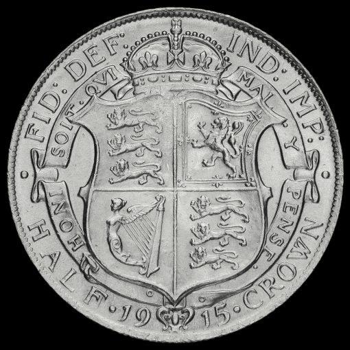 1915 George V Silver Half Crown Reverse