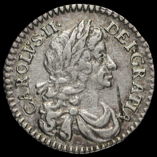 1678/6 Charles II Early Milled Silver Maundy Twopence Obverse