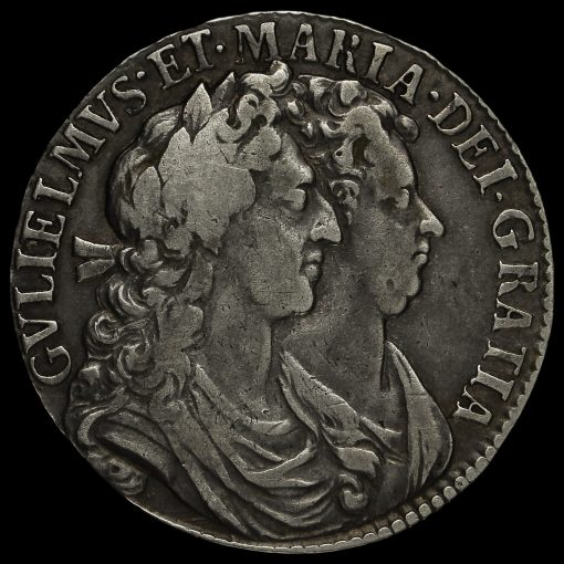 1689 William and Mary Early Milled Silver Half Crown Obverse