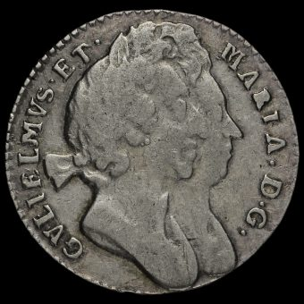 1694 William and Mary Early Milled Silver Maundy Threepence Obverse