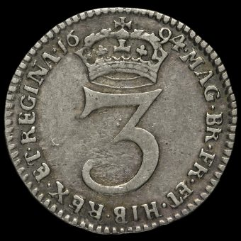 1694 William and Mary Early Milled Silver Maundy Threepence Reverse