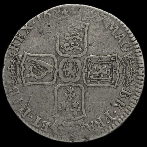 1697 William III Early Milled Silver Half Crown Reverse