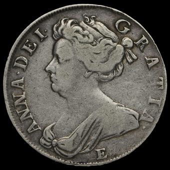 1708 E Queen Anne Early Milled Silver Half Crown Obverse