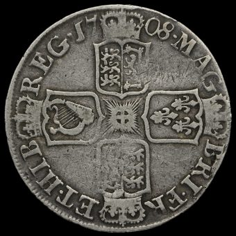 1708 E Queen Anne Early Milled Silver Half Crown Reverse