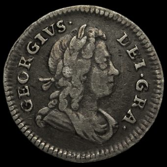 1727 George I Early Milled Silver Maundy Fourpence Obverse