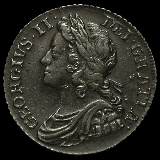 1739 George II Early Milled Silver Shilling Reverse