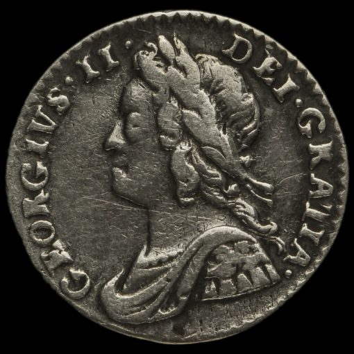 1754 George II Early Milled Silver Maundy Penny Obverse