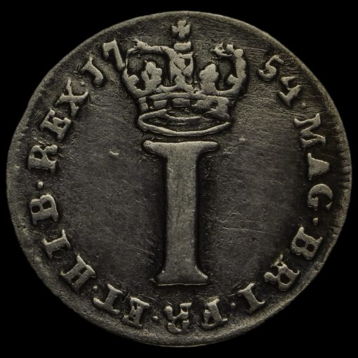 1754 George II Early Milled Silver Maundy Penny Reverse
