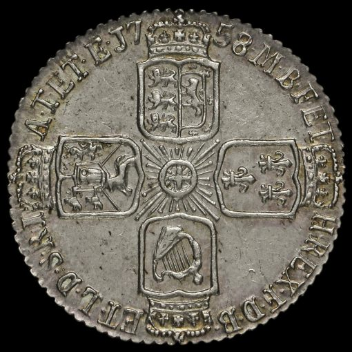 1758 George II Early Milled Silver Sixpence Reverse