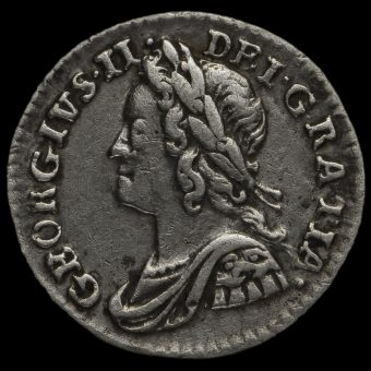 1758 George II Early Milled Silver Maundy Penny Obverse