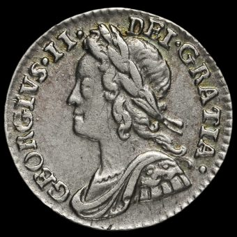 1759 George II Early Milled Silver Maundy Penny Obverse