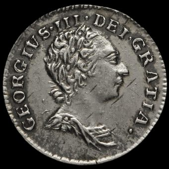 1784 George III Early Milled Silver Maundy Penny Obverse