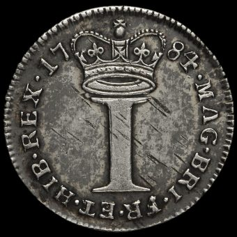 1784 George III Early Milled Silver Maundy Penny Reverse