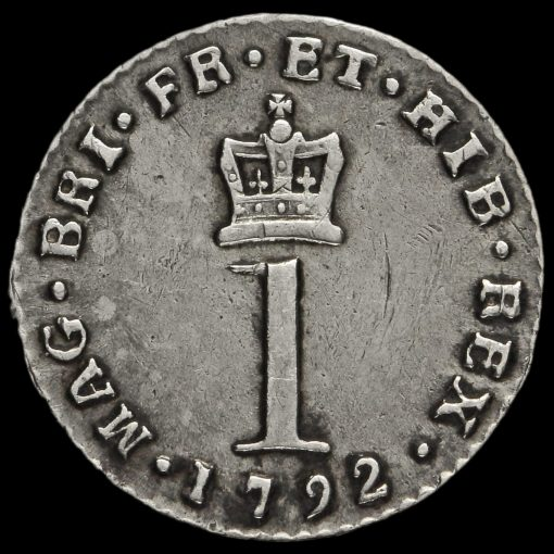1792 George III Early Milled Silver Maundy Penny Reverse