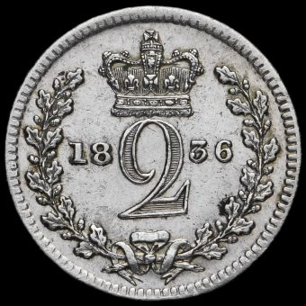 1836 William IV Milled Silver Maundy Twopence Reverse