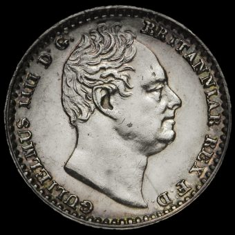 1837 William IV Milled Silver Maundy Penny Obverse