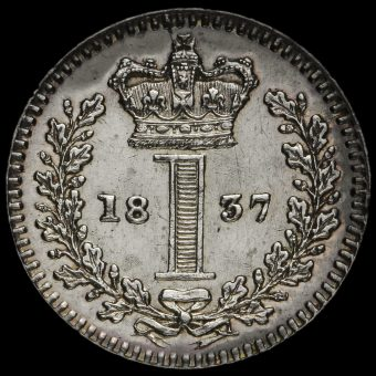 1837 William IV Milled Silver Maundy Penny Reverse