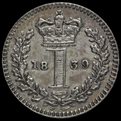 1839 Queen Victoria Young Head Silver Maundy Penny Reverse