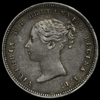 1849 Queen Victoria Young Head Silver Maundy Fourpence Obverse