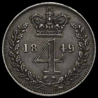 1849 Queen Victoria Young Head Silver Maundy Fourpence Reverse