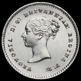 1854 Queen Victoria Young Head Silver Maundy Twopence Obverse