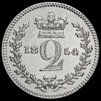 1854 Queen Victoria Young Head Silver Maundy Twopence Reverse
