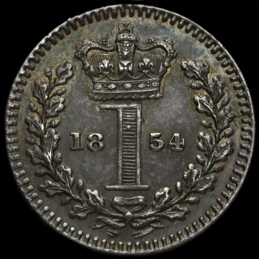 1854 Queen Victoria Young Head Silver Maundy Penny Reverse