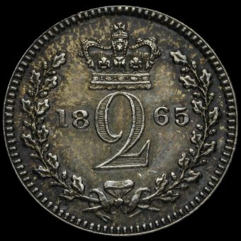 1865 Queen Victoria Young Head Silver Maundy Twopence Reverse