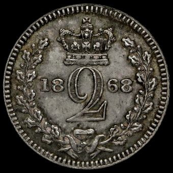 1868 Queen Victoria Young Head Silver Maundy Twopence Reverse