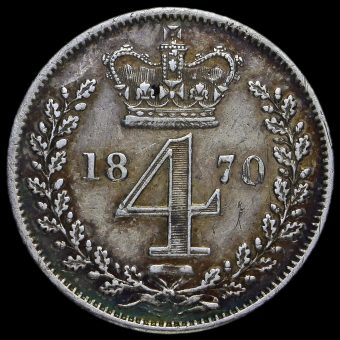 1870 Queen Victoria Young Head Silver Maundy Fourpence Reverse