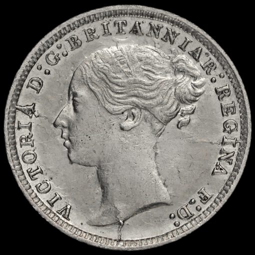1871 Queen Victoria Young Head Silver Threepence Obverse